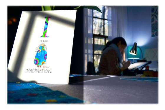 """Emily Lupita painting early in the morning. """"I"""" is for Imagination watercolor painting commissioned artwork."""