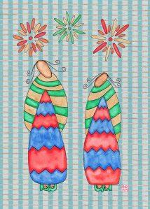 6-2-2 Fireworks Kimono Blue Squares