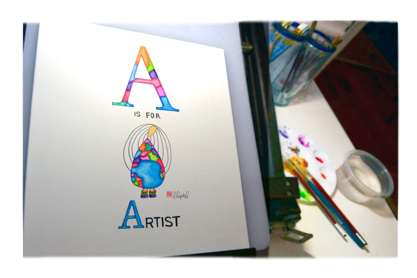 """A"" is for artist watercolor painting by Emily Lupita."