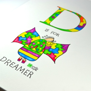 D is for Dreamer letter D alphabet original artwork watercolor painting by artist Emily Lupita of Emily Lupita Studio