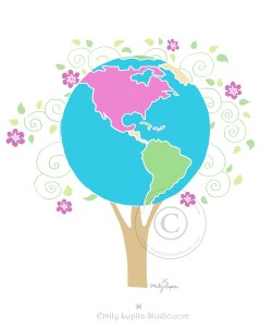 Globe World Tree Artwork by Emily Lupita Studio