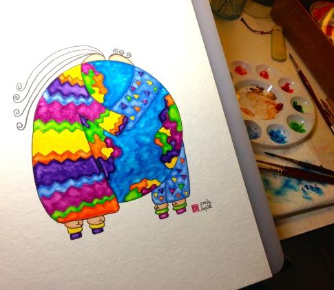 Emily Lupita Studio artist Emily Lupita watercolor painting