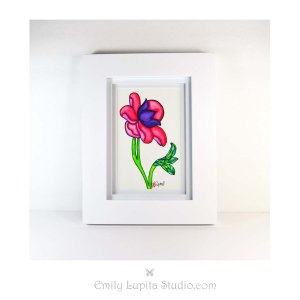 Emily Lupita Studio Emily Lupita watercolors pink flower painting