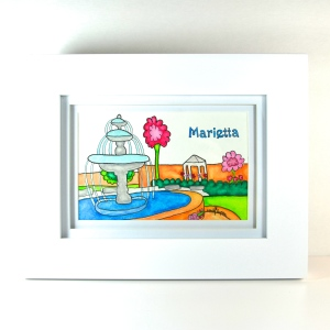 """Marietta Fountain"" by Emily Lupita.  Sold at the MSAA Gallery - July Art Walk."