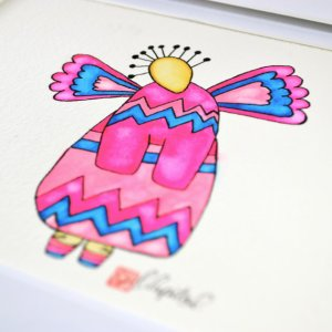 flying pink girl with wings by artist Emily Lupita