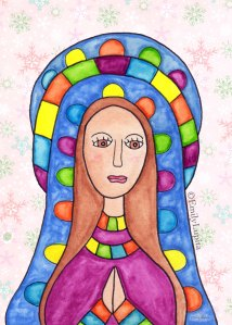 art print prayer peace Christmas holiday woman Holy Mother