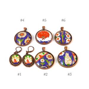 Turkish art pendants, Turkey, Istanbul, Iznik, artwork, jewelry, necklace