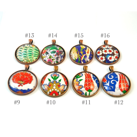 Turkish art pendants, Turkey, Istanbul, Iznik, artwork, jewelry, necklace