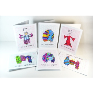 Christmas cards, holiday cards, watercolor cards, art cards, local artist, Emily Lupita Studio, angel greeting cards