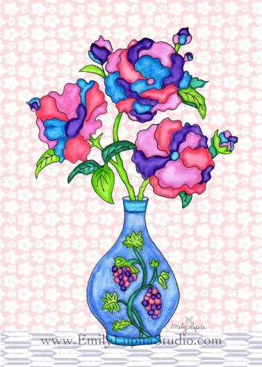 "Week 7 art print, ""Blue Vase Flowers"" - A Year of Flowers"