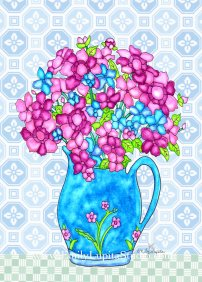 "Week 10 art print, ""Aqua Vase Flowers"" - A Year of Flowers"