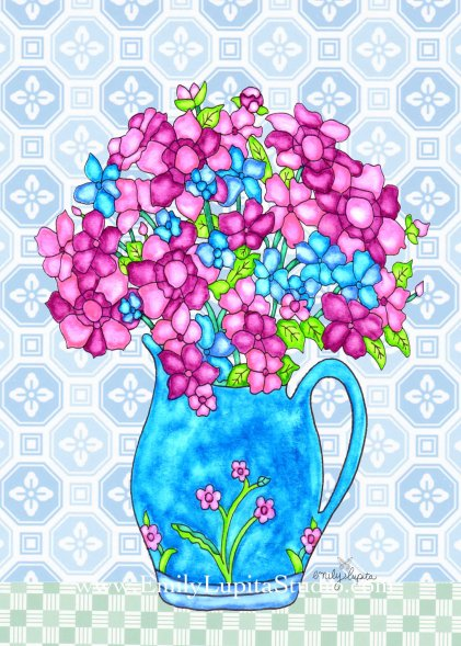 """Week 10 art print, """"Aqua Vase Flowers"""" - A Year of Flowers"""
