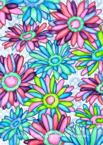 "Week 5 art print, ""Rainbow Blossoms"" by Emily Lupita Studio"