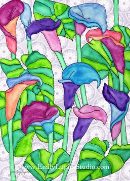 "Week 4 art print, ""Calla Lilies"" by Emily Lupita Studio"