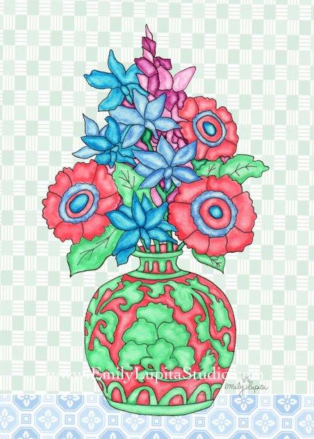 """Week 8  art print, """"Coral Vase Flowers"""" A Year of Flowers"""