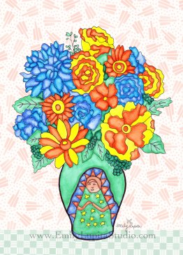 "Week 9 art print, ""Guadalupe Vase Flowers #1""- A Year of Flowers"