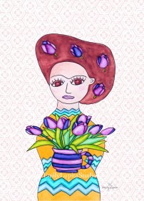 "Week 13 art print, ""Lupita with Tulips in Her Hair"""