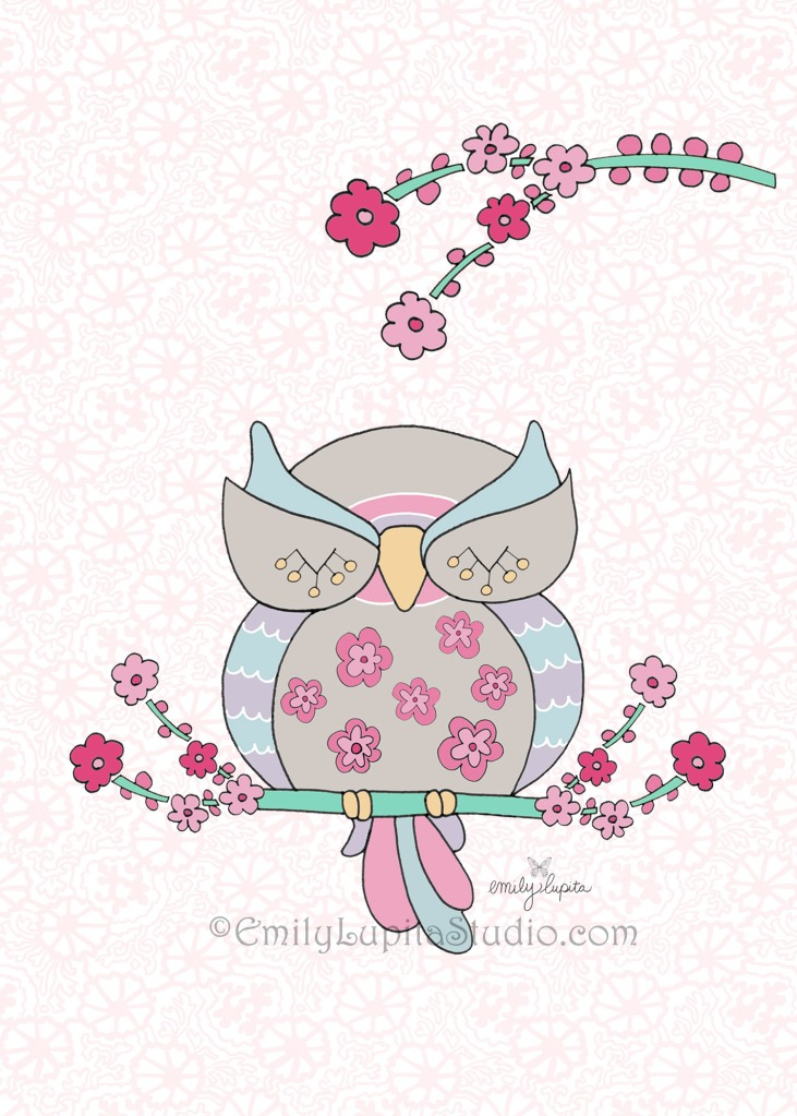 Owl with Flowers by artist Emily Lupita