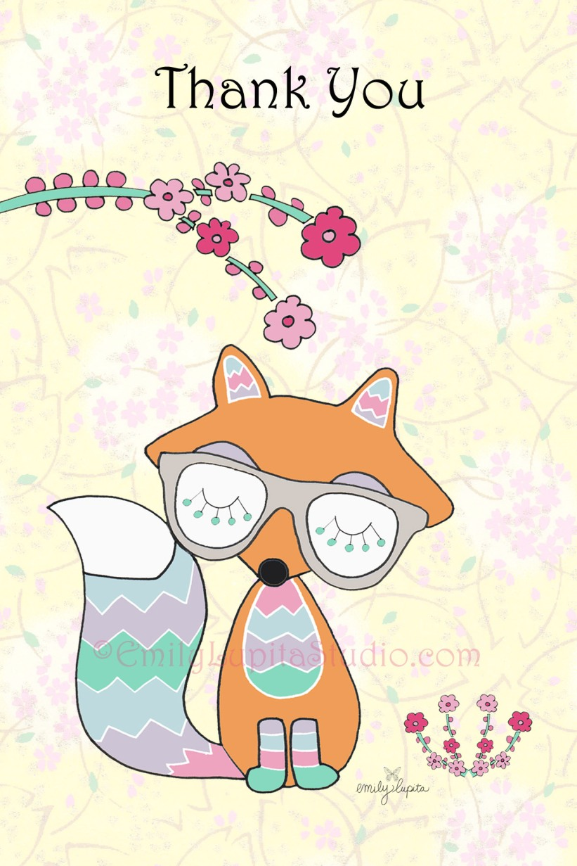 Fox with Flowers by artist Emily Lupita