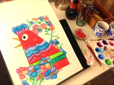 Springtime Big Chicken by artist Emily Lupita