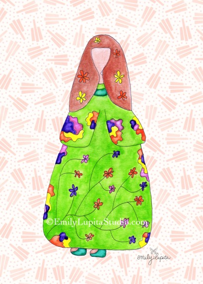 Lupita in Kimono by artist Emily Lupita